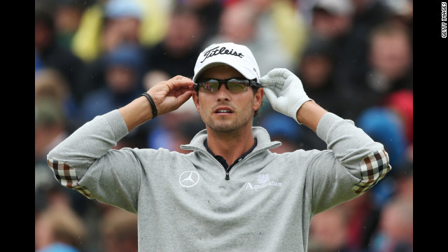 Adam Scott of Australia waits on the fifth hole during the second round Friday.