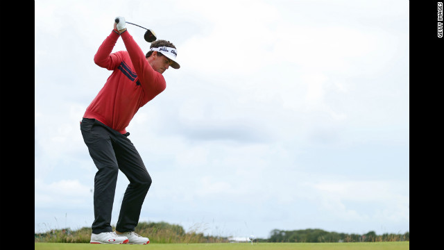 Keegan Bradley of the United States hits his tee shot on the 11th hole during the second round Friday.