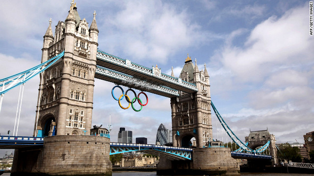 Even London's famous Tower Bridge is decorated for the Olympics.