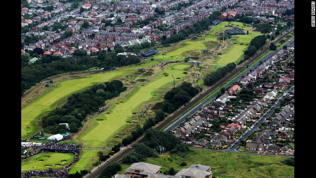 Aerial view of the seventh, eighth, ninth and 10th holes during the second round Friday.