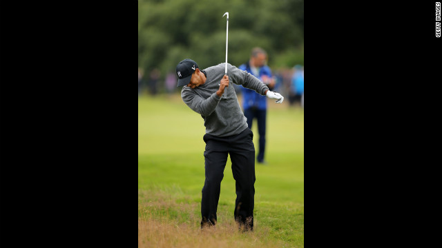 Tiger Woods of the United States reacts to a shot on the seventh hole during the second round Friday. 