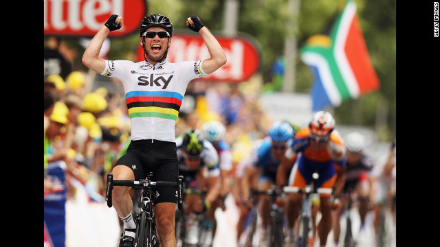 Mark Cavendish of Great Britain and SKY Procycling celebrates winning Stage 18 on Friday.