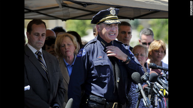 Aurora police chief Daniel J. Oates speaks at a press conference near the Century 16 Theater on Friday.
