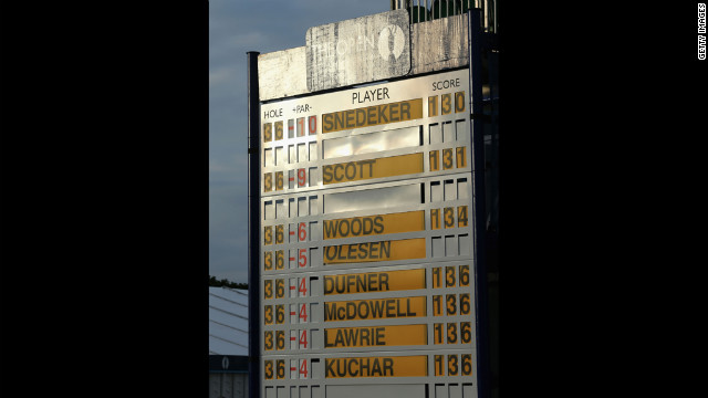 A view of leaderboard during the second round on July 20.