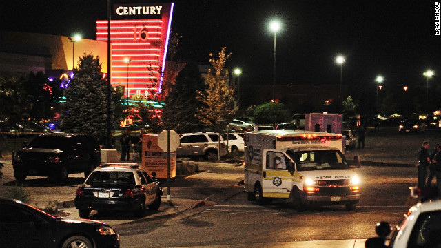 An ambulance is parked outside. Of the wounded, at least 20 were being treated at the University of Colorado Hospital, said spokeswoman Jacque Montgomery.