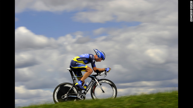 Denmark's Nicki Sorensen races up a hill during the 19th stage of the 2012 Tour de France on Saturday.