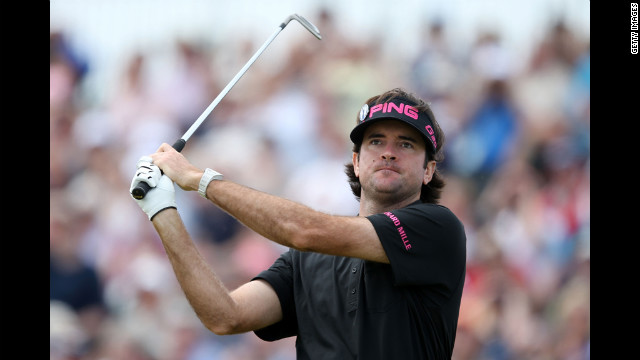 Bubba Watson tees off at No.5 