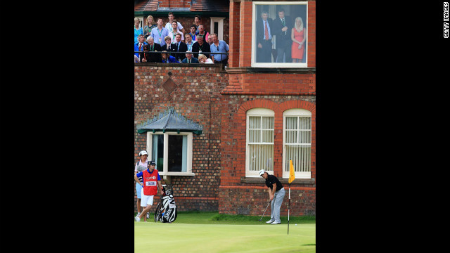 Thorbjorn Olesen of Denmark putts on he 18th green. Olesen is in seventh place heading into the final round at Royal Lytham &amp; St. Annes, which is hosting the Open Championship for the 11th time.