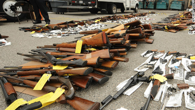 Police guarding firearms from a gun buyback program in Los Angeles.