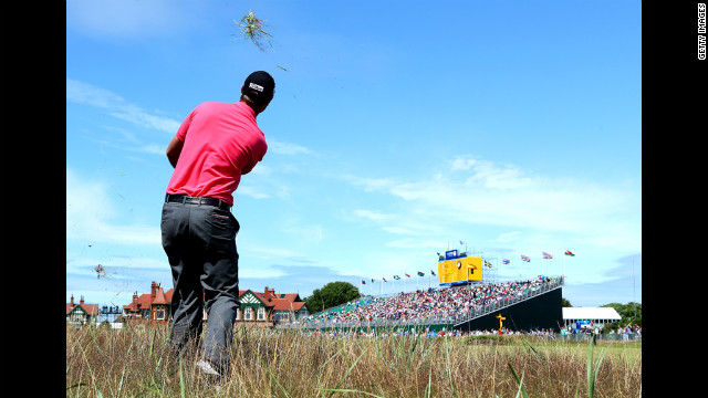 Nicolas Colsaerts of Belgium, who finished with a 279 at one under par, plays a shot from the rough on the 18th hole Sunday.