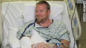 Iraq War veteran Josh Nowlan, 31, is recovering from bullet wounds after huddling to protect his newlywed friends.