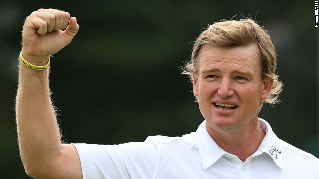 Ernie Els reacts to a birdie putt on the 18th green Sunday.