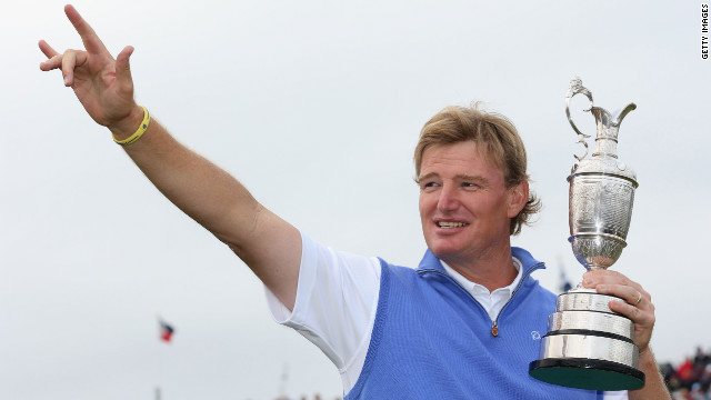 Ernie Els of South Africa celebrates with the Claret Jug after his victory during the final round of play at the British Open at the Royal Lytham &amp; St. Annes Golf Club in England on Sunday, July 22. See all the action as it unfolds here.