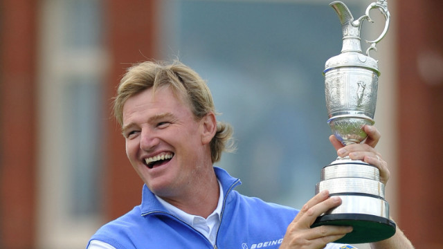 Ernie Els holds aloft the famous Claret Jug after winning the 141st British Open at Royal Lytham and St Annes in 2012.