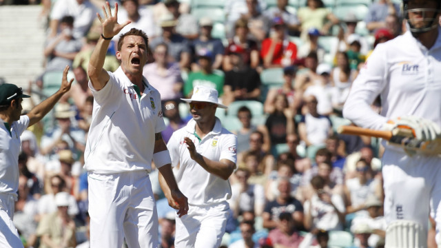 Dale Steyn celebrates his fifth wicket of the innings at The Oval as South Africa completed an innings and 12 run win.
