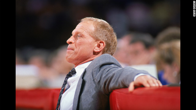 Bill Musselman watches court action during a 1990 NBA game as head coach of the Minnesota Timberwolves. In 1975, Musselman left as head coach of the University of Minnesota Golden Gophers. The NCAA later found 127 violations from his four-year tenure at the school, including direct payment to players for rent and transportation.