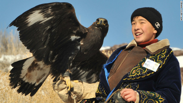 There are around 50 eagle hunters in Kazakhstan, where, like Kyrgyszstan, the practice originated. 