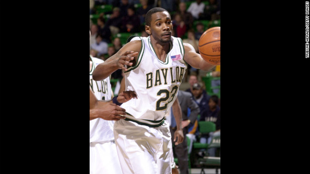 Baylor University basketball player Carlton Dotson reaches for the ball against Montana State in a 2002 game. In June 2003, Baylor's Patrick Dennehy went missing. Dotson confessed to killing him and was sentenced to 35 years in prison. The NCAA later determined that Coach Dave Bliss had instructed his players to lie to investigators and tell them that Dennehy dealt drugs to cover up the coach paying thousands of dollars of Dennehy's tuition. The NCAA put the school on probation until June 2010. It also was banned from playing nonconference games for a season.<br/><br/>