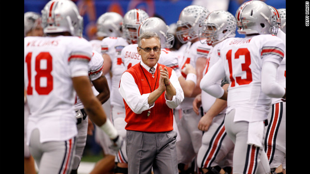 Head coach Jim Tressel with his Ohio State Buckeyes at the 2011 Sugar Bowl. Tressel admitted he knew several star players were trading memorabilia for cash and tattoos in violation of NCAA rules. The NCAA banned the Buckeyes from postseason play for the upcoming season, and OSU voluntarily vacated all 2010 wins. Tressel &quot;resigned&quot; in May 2011, a move OSU later deemed a retirement.