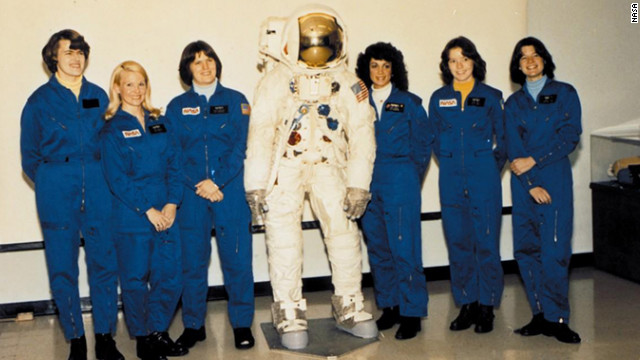 Sally Ride with the other members of NASA's first class of female astronauts in August 1979. From left to right: Shannon W. Lucid, Margaret Rhea Seddon, Kathryn D. Sullivan, Judith A. Resnik, Anna L. Fisher, and Ride.