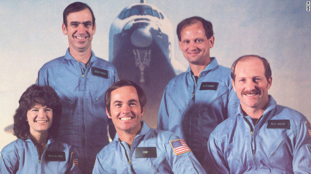 Ride appears, front left, in the STS-7 Challenger Crew photo in January 1983. Front row, left to right: Ride, Cmdr. Bob Crippen, Pilot Frederick Hauck. Back row, left to right: John Fabian, Norm Thagard.