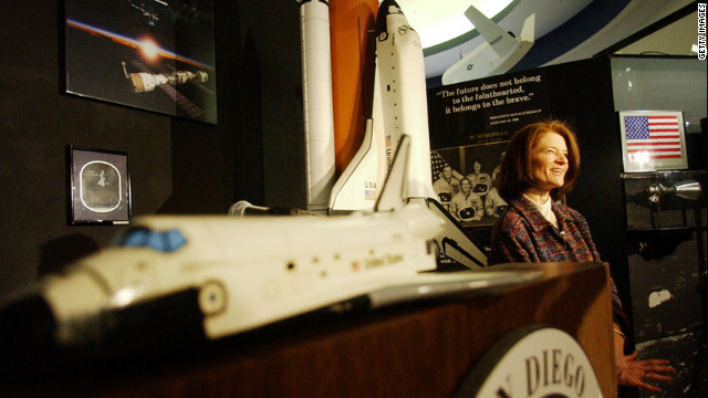 Ride gives her condolences to the families of the space shuttle Columbia crew while speaking to the media at the San Diego Aerospace Museum on February 7, 2003.