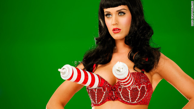 In addition to catchy songs, Katy Perry uses brightly colored costumes -- one of which spouts whipped cream from her bra -- to catch her audience's attention.
