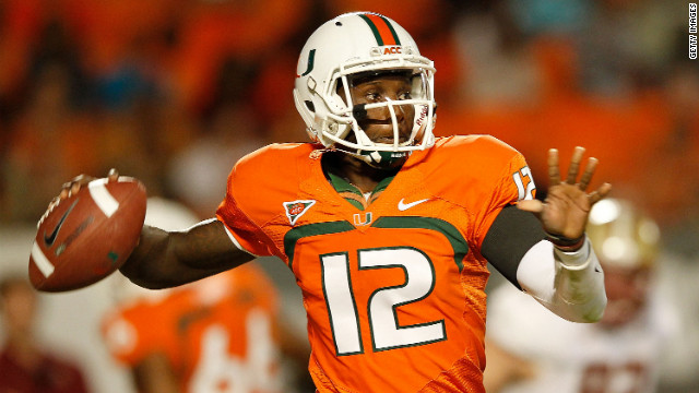 University of Miami quarterback Jacory Harris throws a pass during a 2011game. Harris was one of 13 Hurricanes initially ruled ineligible after the NCAA began investigating allegations by Nevin Shapiro, an imprisoned former booster, that he for eight years provided 72 athletes with benefits that violated NCAA rules. Shapiro is incarcerated for running a $930 million Ponzi scheme. After Miami petitioned for the players' reinstatements, one player was vindicated, while the other 12, including Harris, were reinstated after serving suspensions and/or paying restitution. The investigation into the Shapiro scandal is ongoing.<br/><br/>