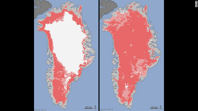 Satellites reveal rare levels of Greenland ice melt