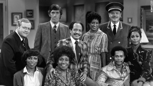 &quot;The Jeffersons&quot;: (Back row, from left) Franklin Cover, Paul Benedict, Sherman Hemsley, Marla Gibbs and Ned Wertimer. (Front row, from left) Roxie Roker, Isabel Sanford, Mike Evans and Berlinda Tolbert.