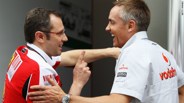 Ferrari team principal Stefano Domenicali, left, talks with McLaren counterpart Martin Whitmarsh in March 2010.