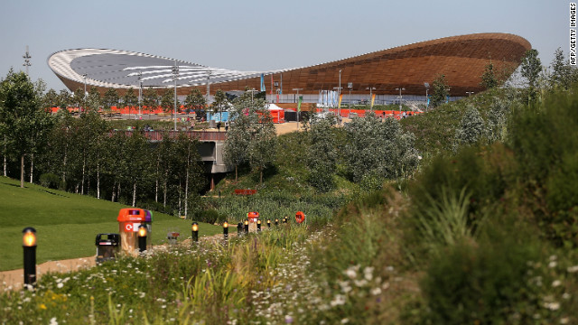 "In the velodrome -- also known as ""The Pringle"" -- cyclists will race round a track made from sustainably-sourced Siberian pine."