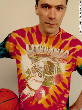 "Even after 20 years, this design still takes the gold in the worst-dressed stakes. Lithuania's ""Other Dream Team"" wore Greg Speirs' creations after he donated 100% of profits from the commercial sales of his t-shirts to fund Lithuania's journey to the Olympics. The Lithuanian men's basketball team may never have had the chance to reach the semifinals had it not been for Speirs' unprecedented support. ""Slam-Dunking Skullman"" t-shirts are now available for sale again through his website in celebration of the 20th anniversary of the feat."
