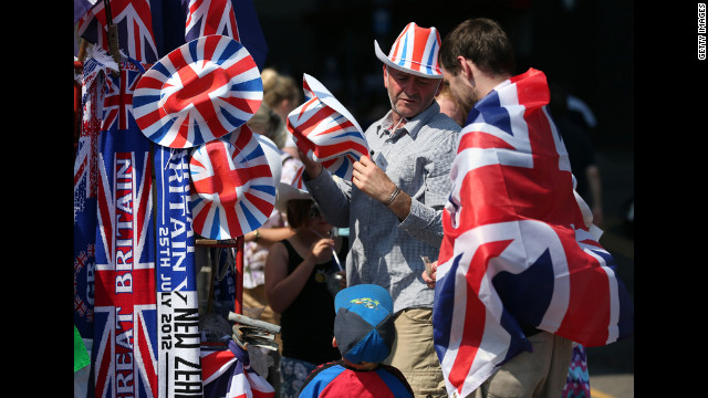 Fans have their choice of Great Britain merchandise before the soccer games begin.