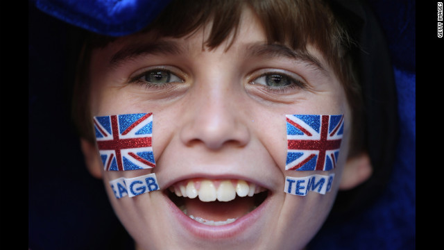 A fan shows his support during the soccer match between Great Britain and New Zealand on Wednesday.