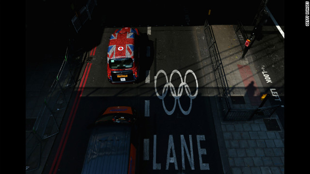 An Olympic lane at the Embankment in London. 
