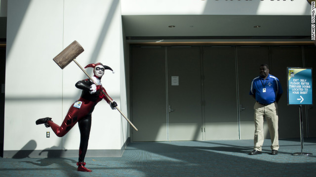 Harley Quinn strikes a pose on her way to a Comic-Con panel.