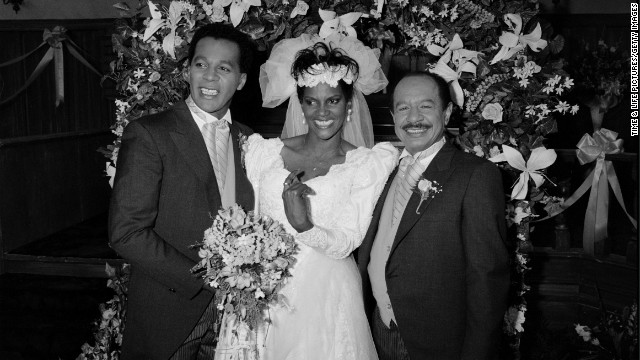 From left, Clifton Davis, Anna Maria Horsford and Sherman Hemsley on set of the TV series &quot;Amen,&quot; which aired from 1986-1991.