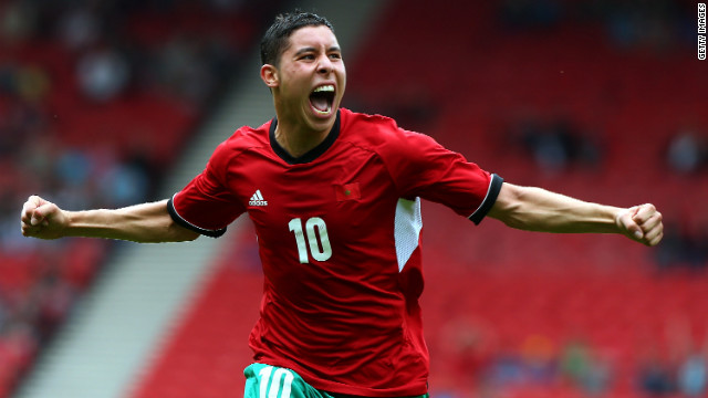 Abdelaziz Barrada of Morocco celebrates after scoring during a Group D soccer match against Honduras on Thursday in Glasgow.