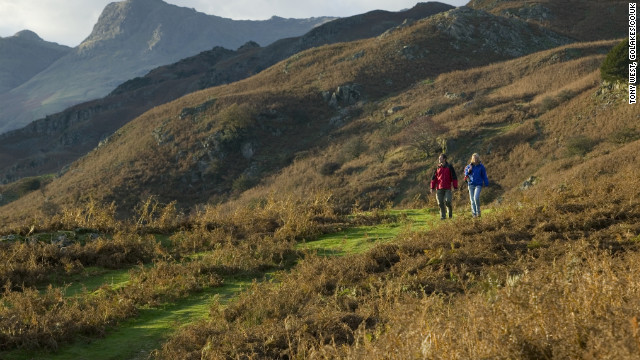 The Langdale Pikes in Lake District National Park make for a rugged, scenic walk.