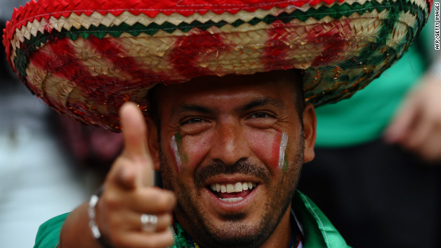 A Mexican fan watches the men's soccer match Thursday between Mexico and South Korea in Newcastle-upon-Tyne.