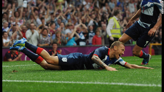 Great Britain's Craig Bellamy celebrates a goal during the first round Group A Match between Great Britain and Senegal on Thursday, July 26, in Manchester, England.