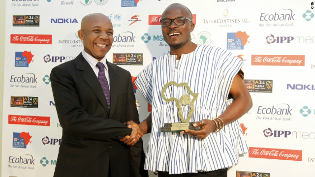 Joy FM's Joshua Anny celebrates after winning the award for Radio General News for his work, &quot;Scatters Paradise.&quot;