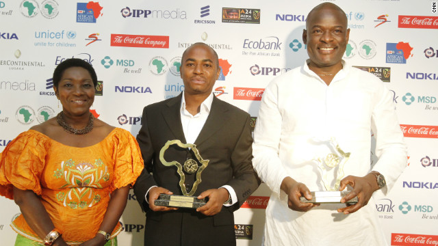 Kenya's Citizen TV gets several honors on the night when journalists Tom Mboya (right) and Evanson Nyaga (left) win both the Television Features Award and are the overall winners of the CNN MultiChoice African Journalist Awards 2012 for their work called &quot;African tribe in India.&quot;
