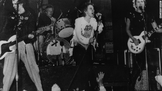 Infamous British punk rock group The Sex Pistols playing live in Copenhagen in 1977. Though banned by the BBC during their time as an act, their song &quot;Pretty Vacant&quot; was included in the Danny Boyle-directed Olympic opening ceremony. 