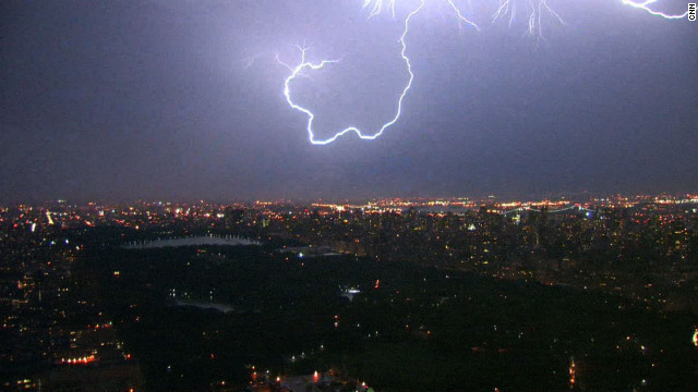 Lightning curls over Central Park.