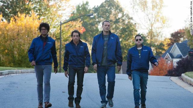 Richard Ayoade, from left, Ben Stiller, Vince Vaughn and Jonah Hill team up as neighborhood watchmen in