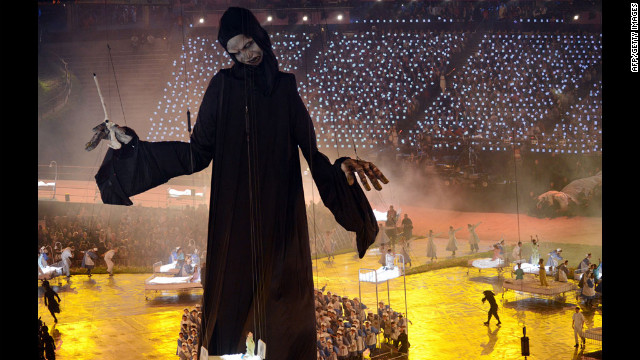 Lord Voldemort looms over the opening ceremony.