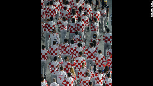 Croatia's delegation parades during the opening ceremony.