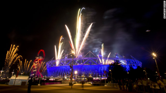 Fireworks go off over the Olympic stadium after the last rehearsal of the opening ceremony in London on Thursday.